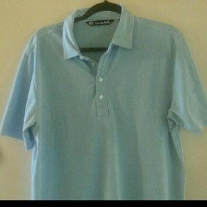 Travis Mathew Large Polo Light Blue Shirt
